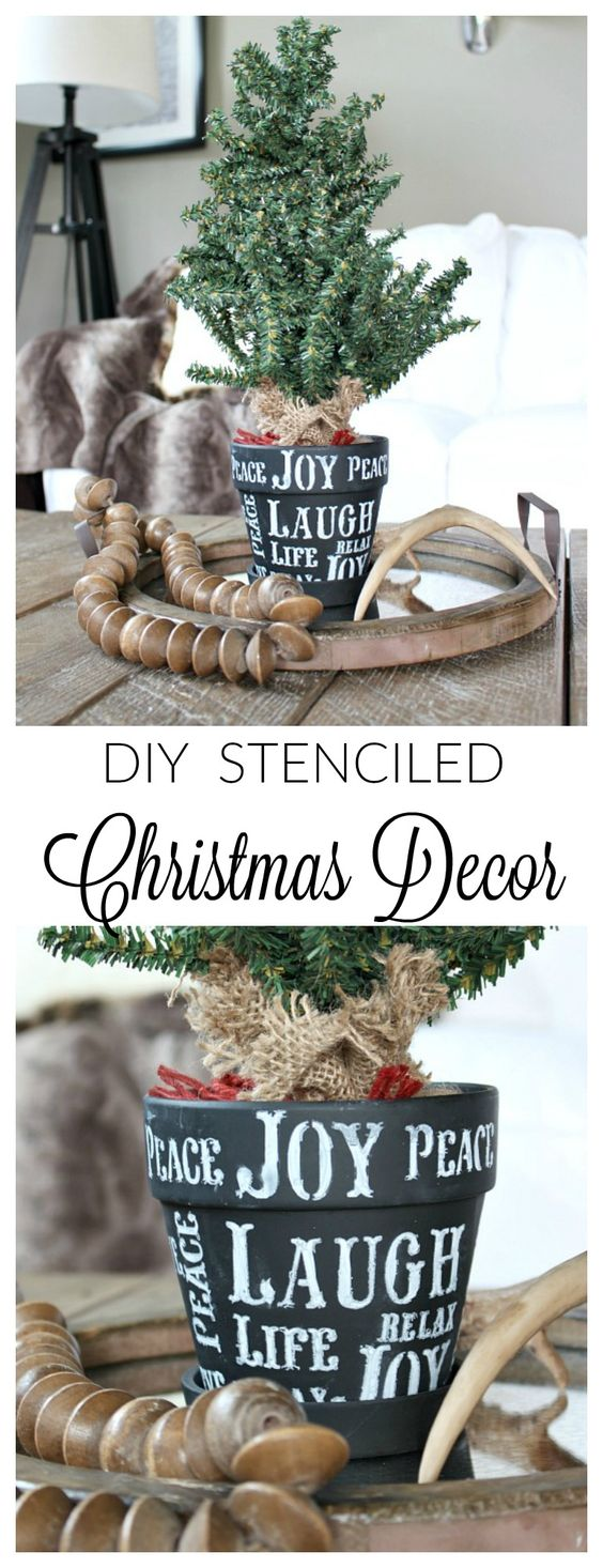 DIY Stenciled Tree Pot for Christmas Decor.