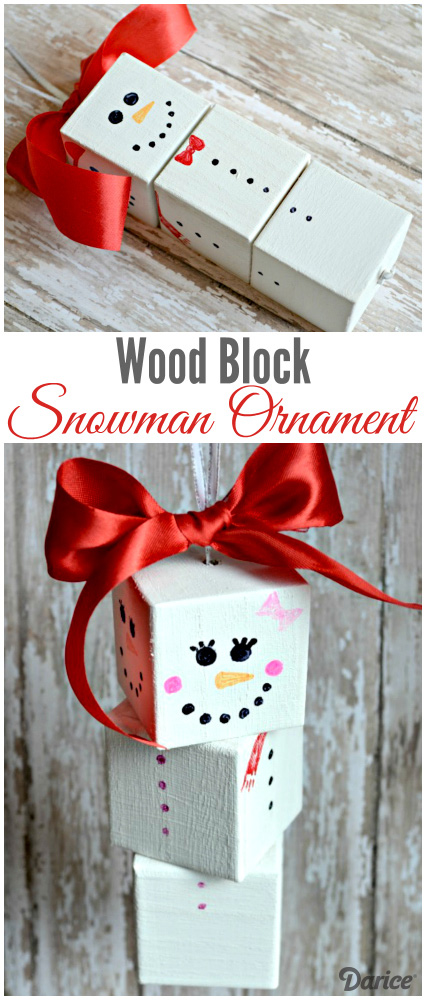 DIY Wood Block Snowman Ornament.