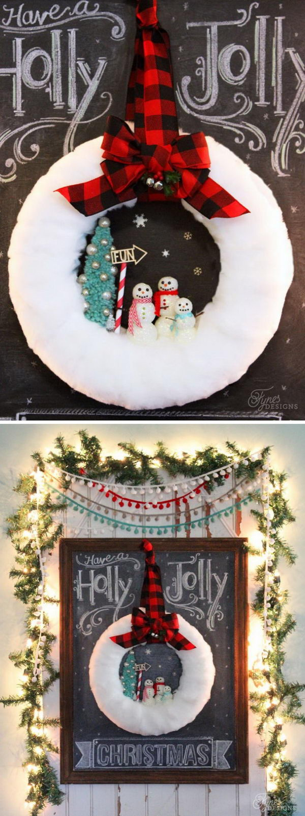 DIY Glittery Snowman Wreath.