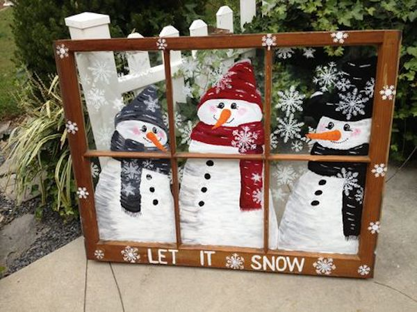 Lovely Snowman Family Decoration Just Behind The Glass Gate.