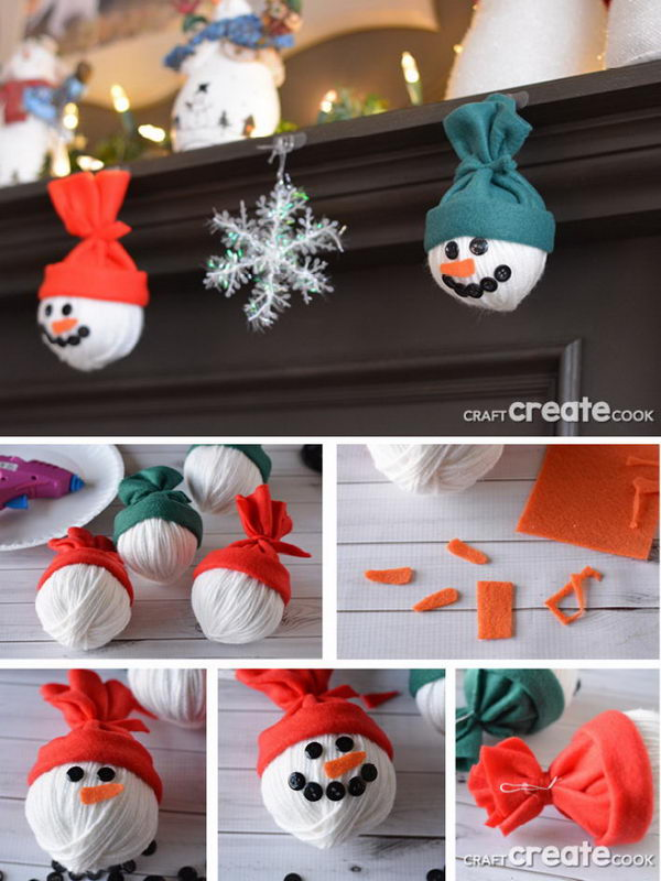 Adorable Snowman Heads For Christmas Decorations.