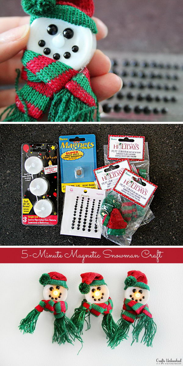 Magnetic Light Up Snowman Crafts.