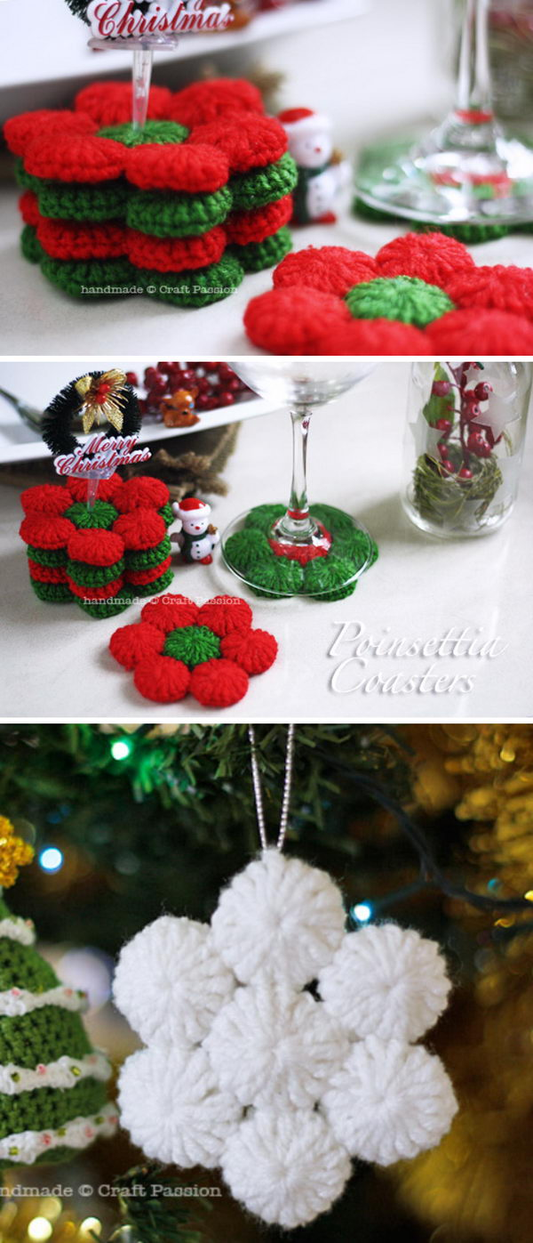 YO YO Puff Poinsettia Drink Coasters.