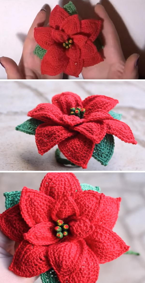 Crochet Poinsettia Flower Bouquet.