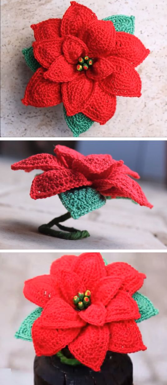 Crochet Poinsettia Christmas Flower.