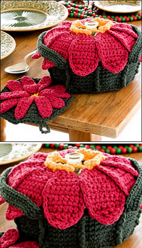 Poinsettia Casserole Cover And Potholder.