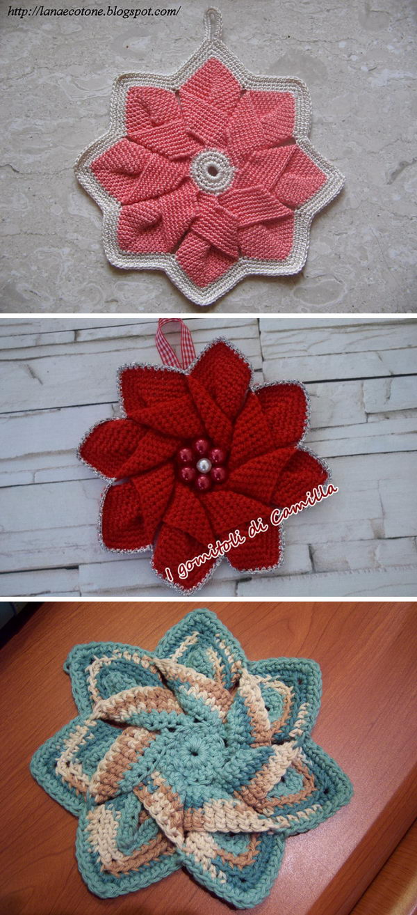 Crochet Poinsettia Flower Hot Pad.