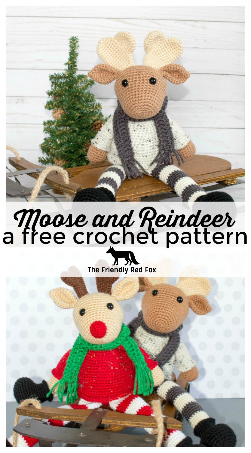 Free Crochet Moose and Crochet Reindeer Pattern.