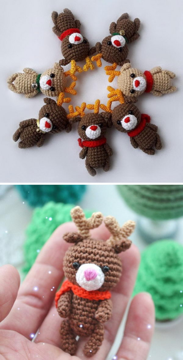 Crochet Mini Reindeer.