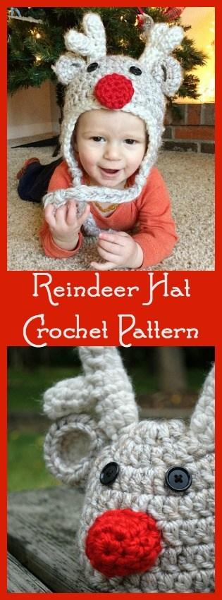 Free Crochet Reindeer Hat Pattern.