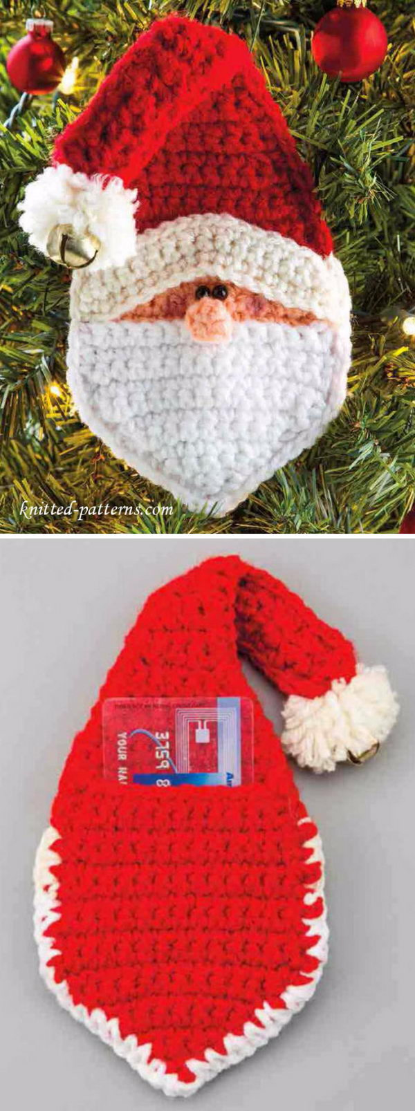 Crochet Santa Christmas Ornament With Gift Slit.