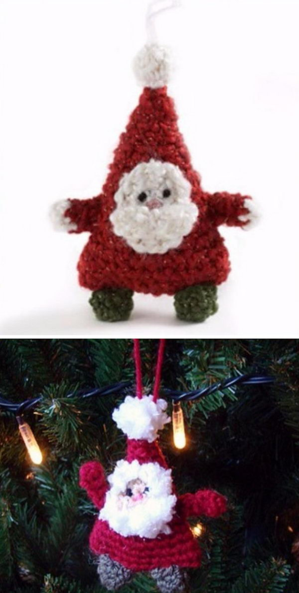 Amigurumi Santa Ornament.