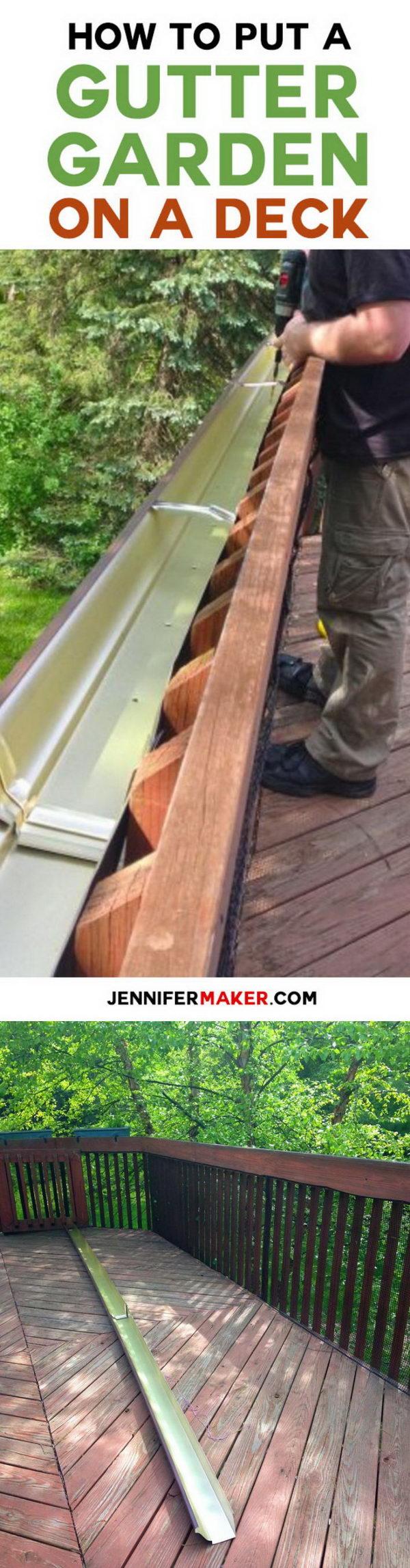 DIY Gutter Garden On Deck Railing.