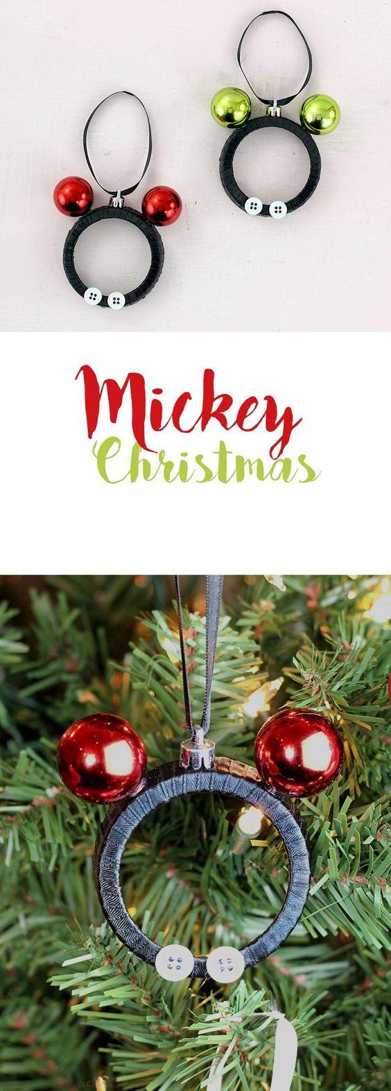 Mickey and Minnie DIY Mason Jar Lid Ornaments.
