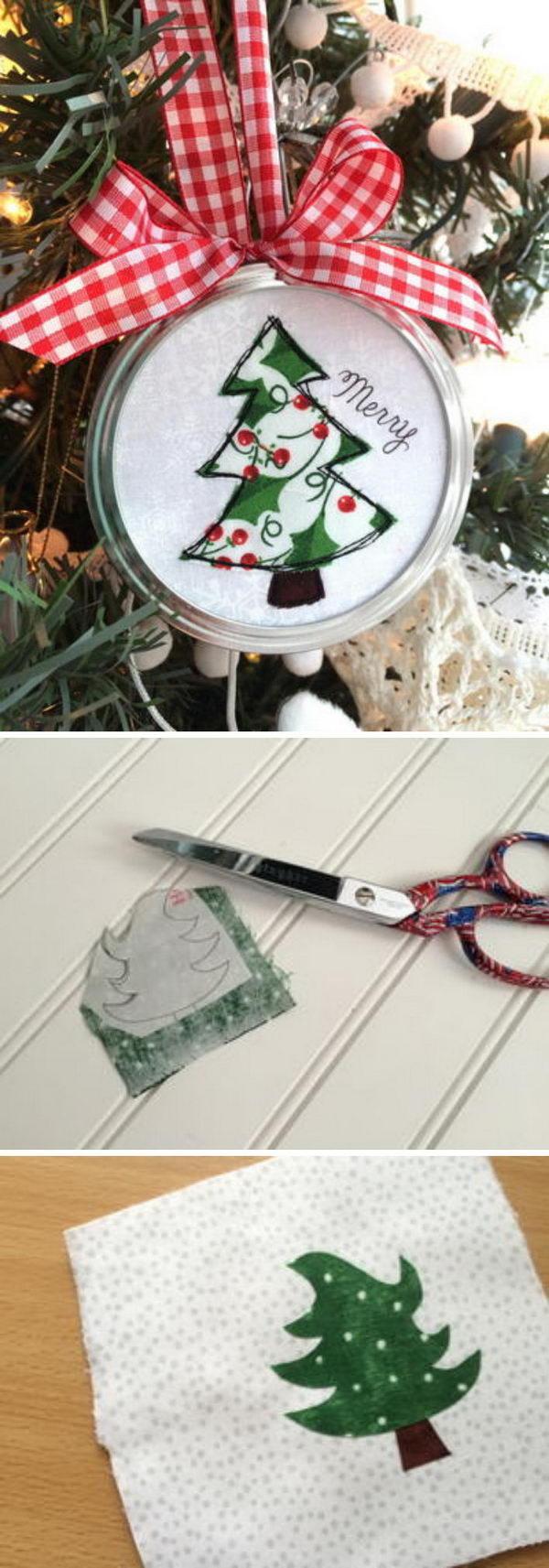 Mason Jar Lid Applique Ornament.