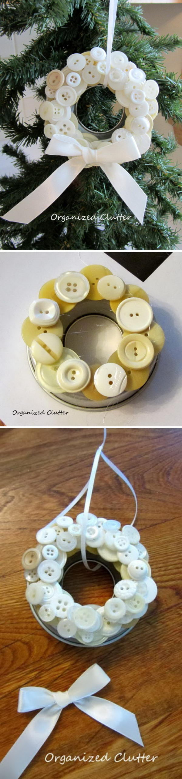 White Buttons Decorated Mason Jar Lid Ornament.