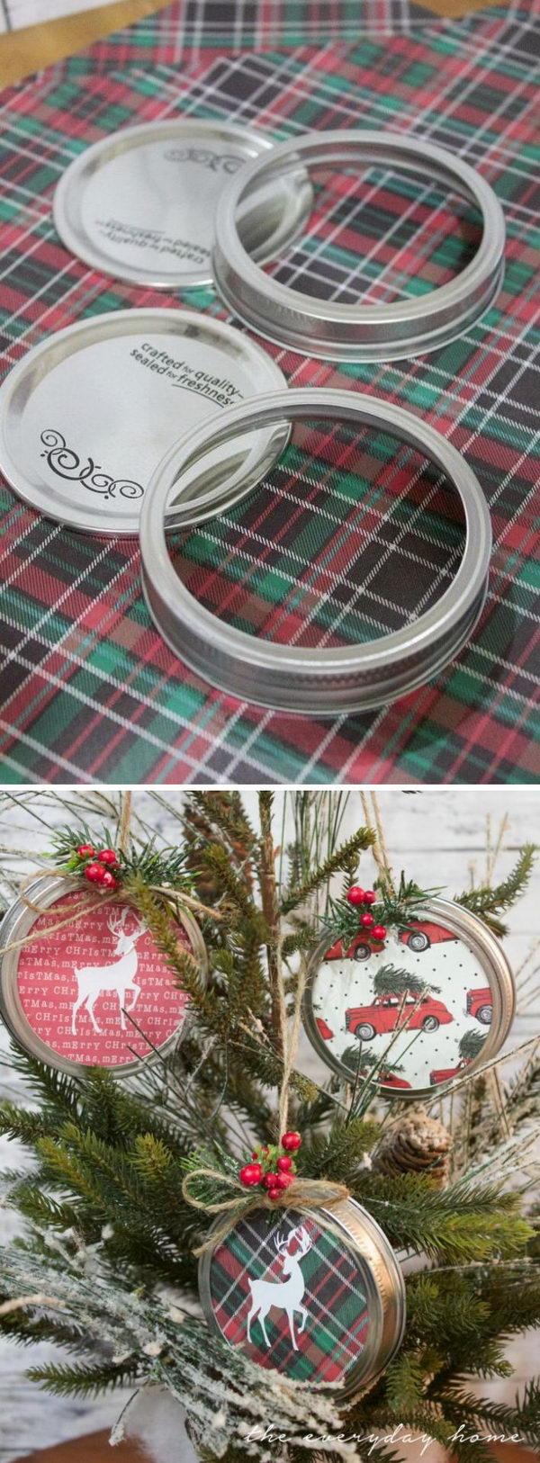 Plaid Reindeer Mason Jar Lid Ornament.