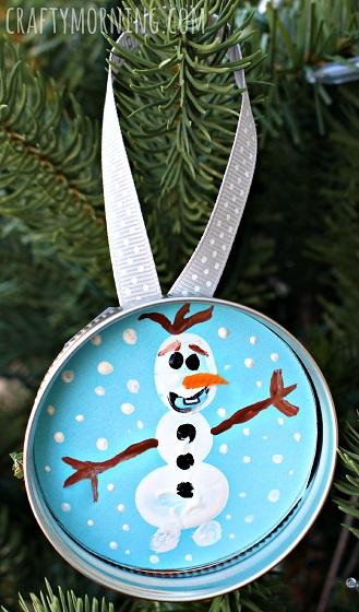 Fingerprint Frozen Olaf Christmas Ornament.