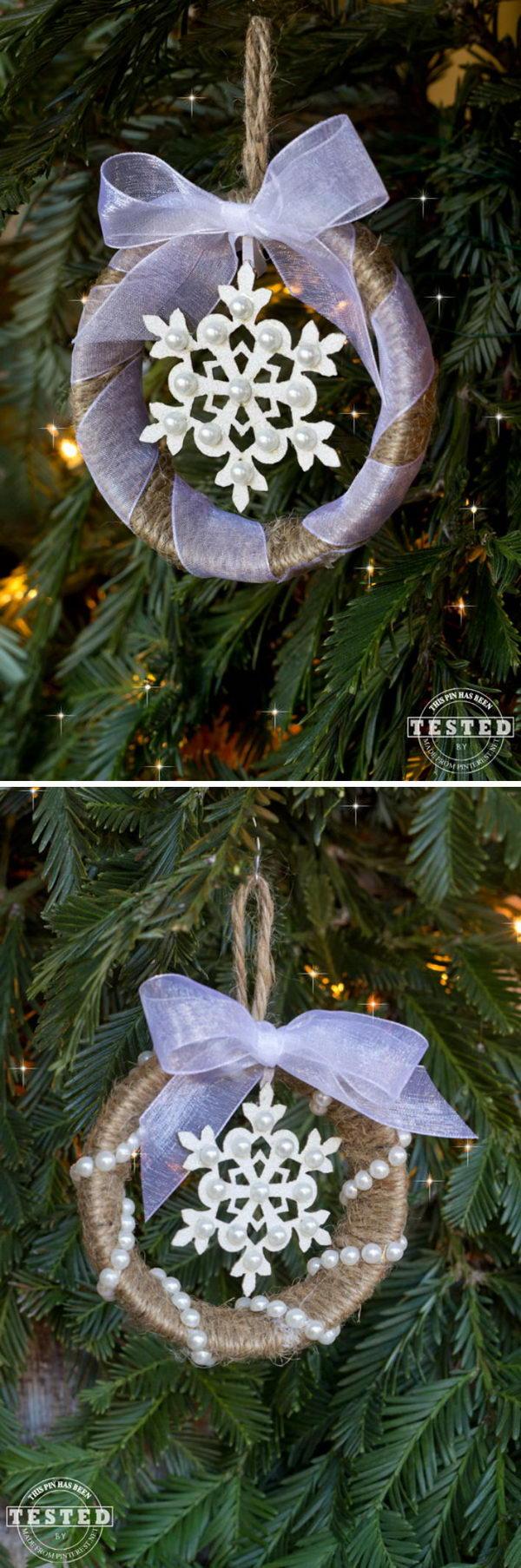 DIY Pearl Bead Mason Jar Ring Ornament.