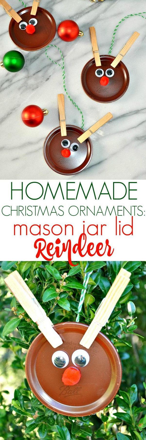 Clothespin Mason Jar Lid Reindeer Ornaments.