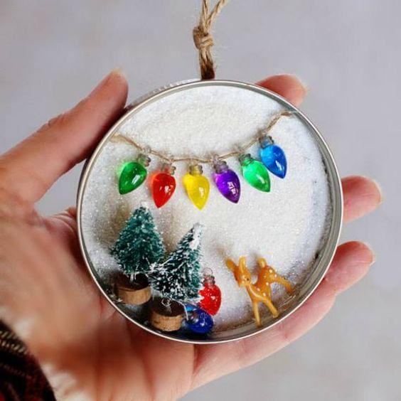 Snowy Scene Mason Jar Lid Ornament.