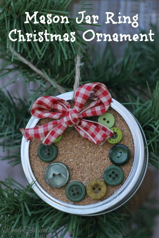 Mason Jar Ring Wreath Ornament With Small Buttons And Wired Ribbon.
