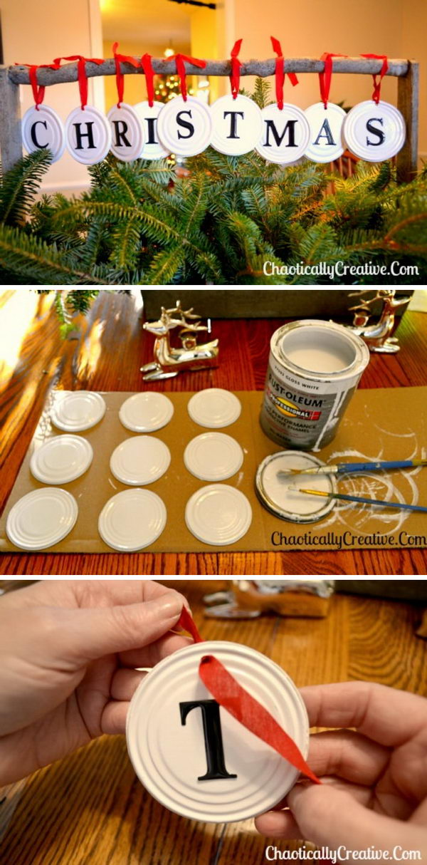 Can Lid Christmas Ornaments.