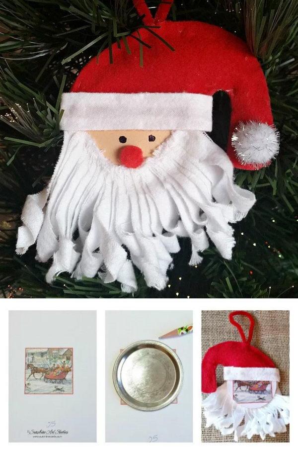 Mason Jar Lid Santa Ornament.