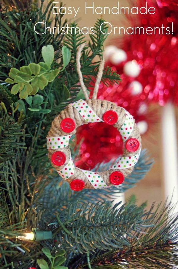 DIY Red Buttons And Twine Wrapped Jar Lid Ornament.