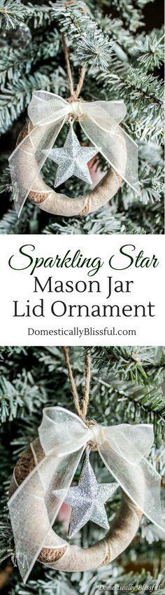 Sparkling Star Mason Jar Lid Ornament.
