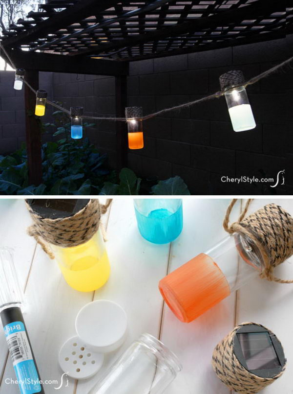 DIY Colorful Solar Lanterns.