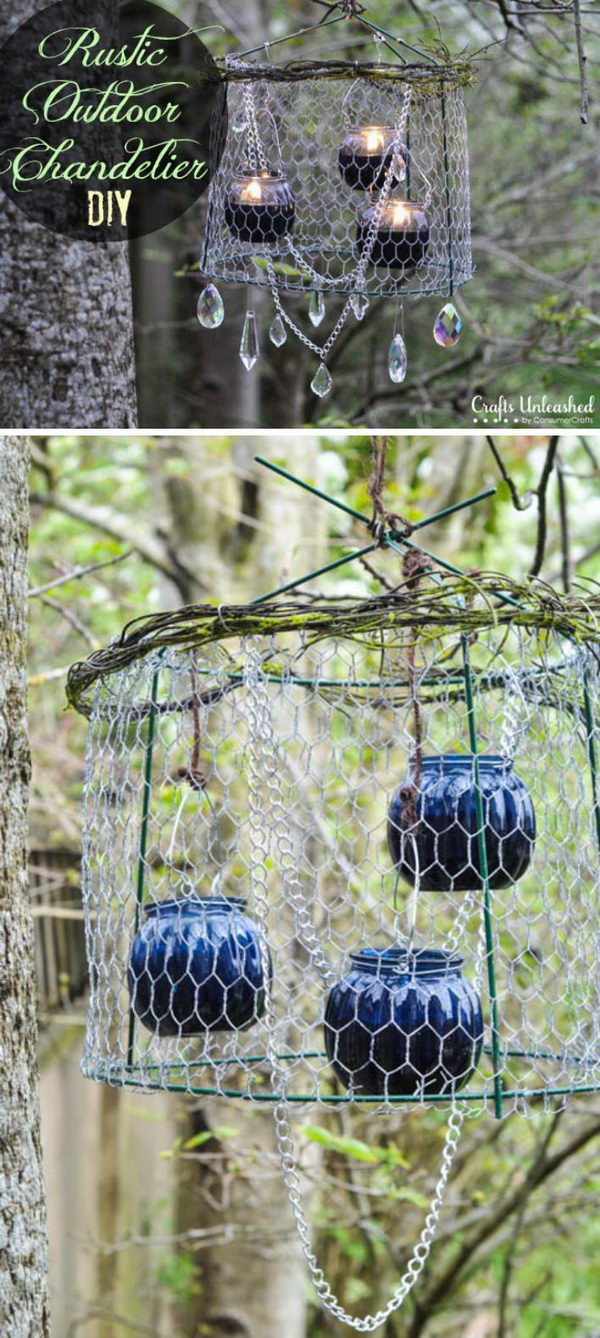 Upcycled Tomato Cage Chandelier For Your Garden.