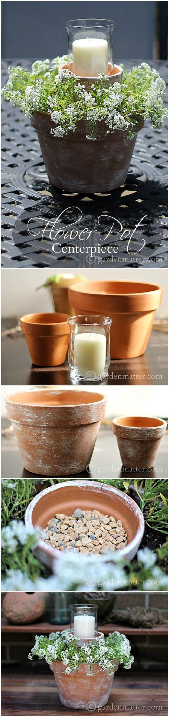 DIY Flower Pot Candle Planter.
