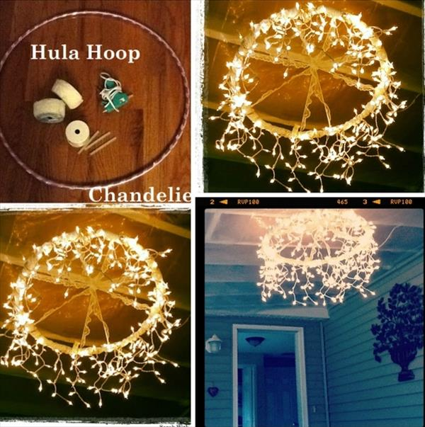 30 cheap and easy diy lighting ideas for outdoor 2017 diy hoop chandelier mozeypictures Images