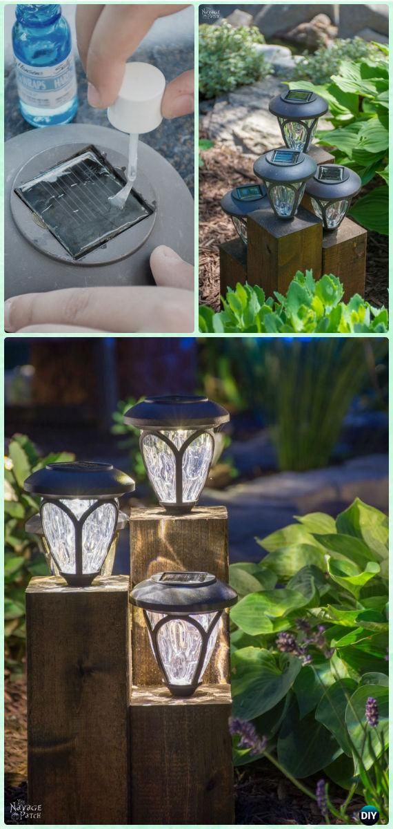 DIY Cedar Cube Landscape Lights.