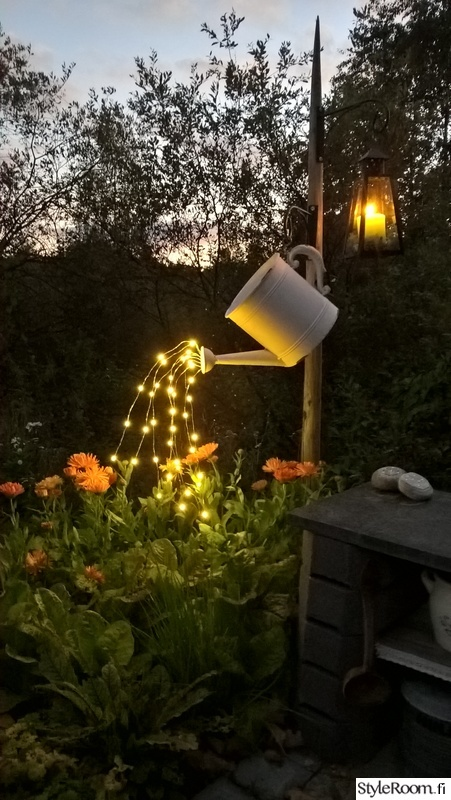 Watering Can With Fairy Lights.