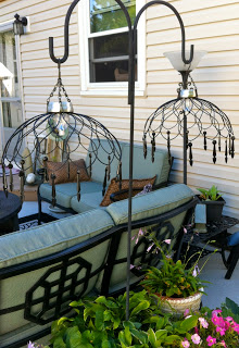 DIY Hanging Chandeliers From Wire Baskets.