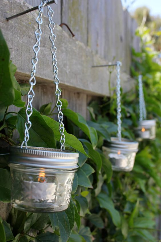 Hanging Jam Jar and Tea Light.