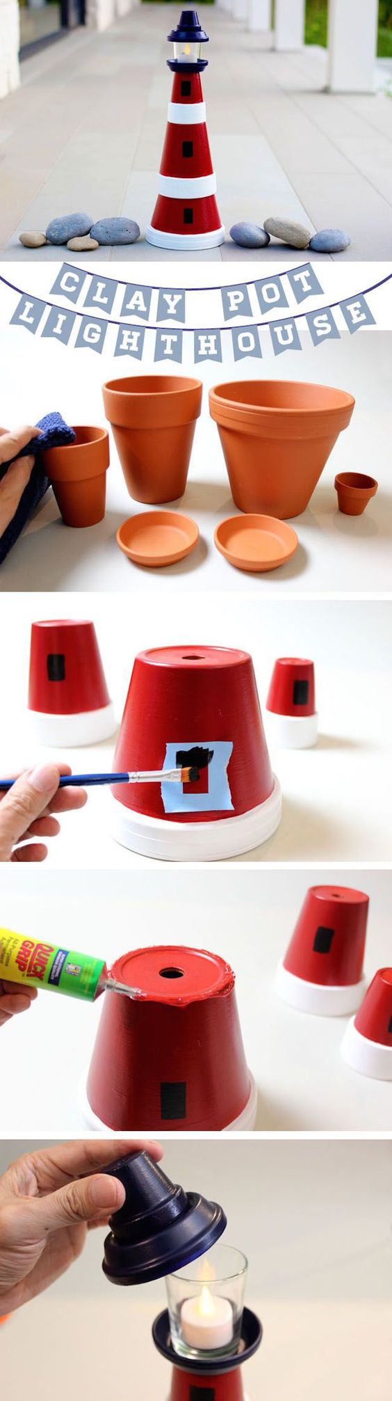 DIY Clay Pot Lighthouse.