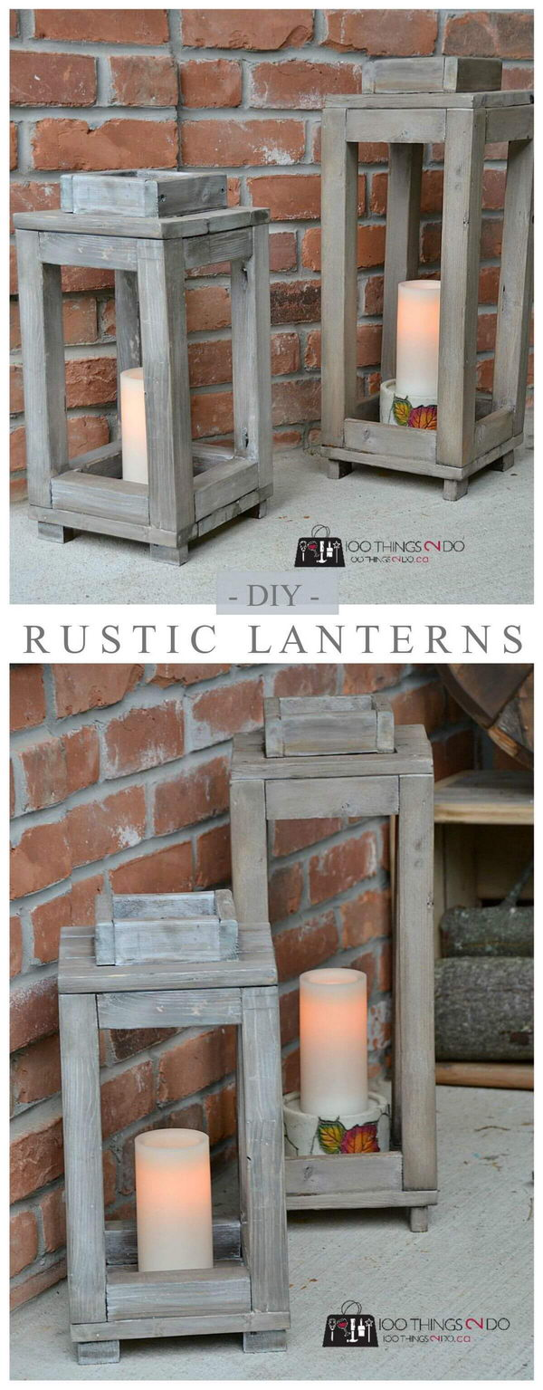 DIY Rustic Wooden Lanterns.