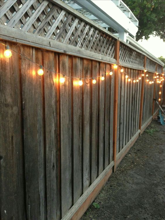 Fairy Lights On Fence.