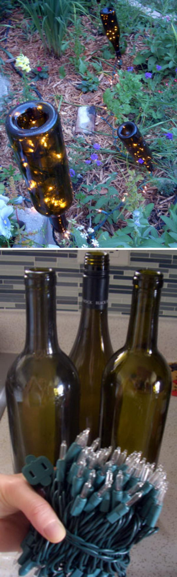 DIY Garden Lights Using Wine Bottles With String Lights.