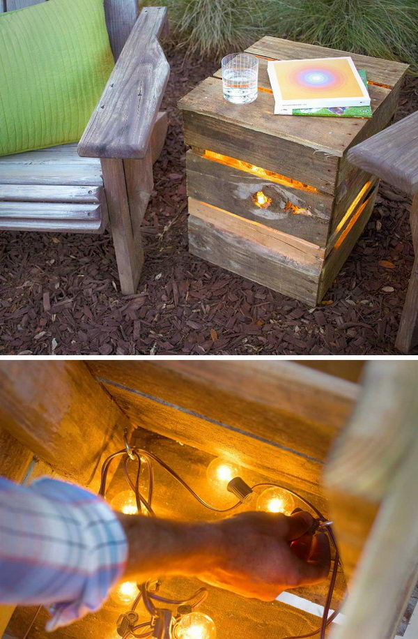 DIY Recycled Pallet Light.