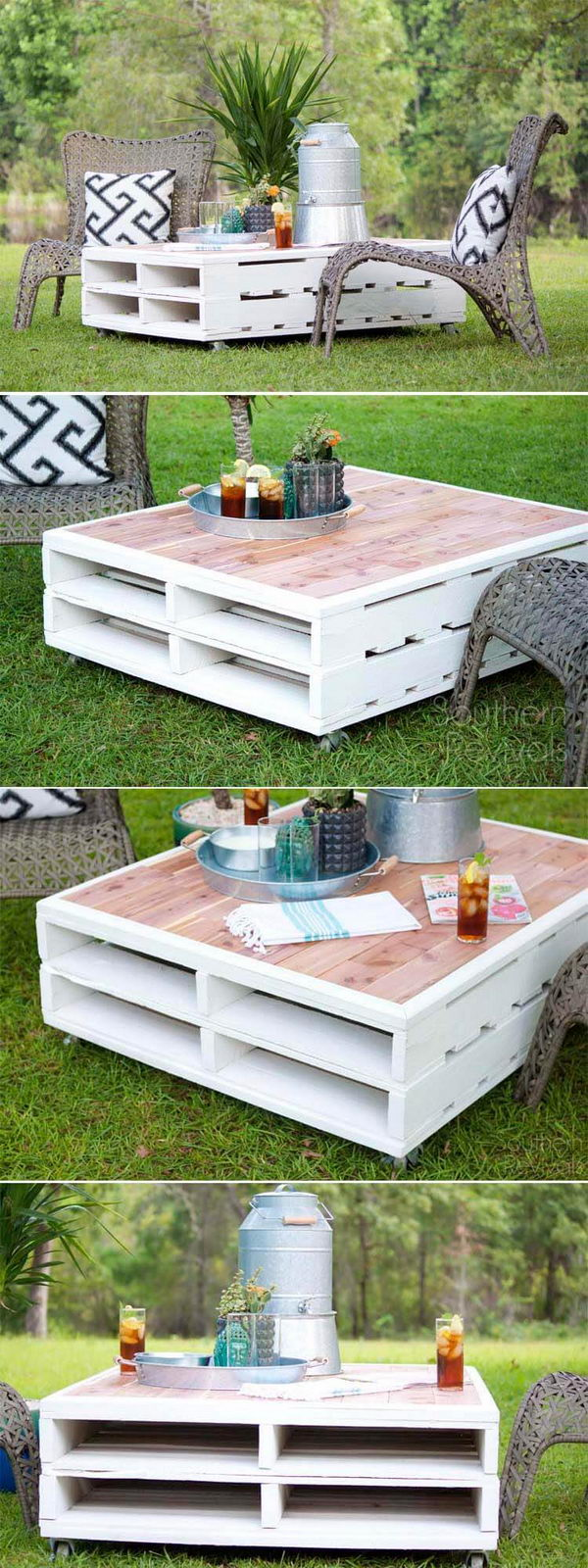 DIY Pallet Coffee Table Gets An Outdoor Makeover.