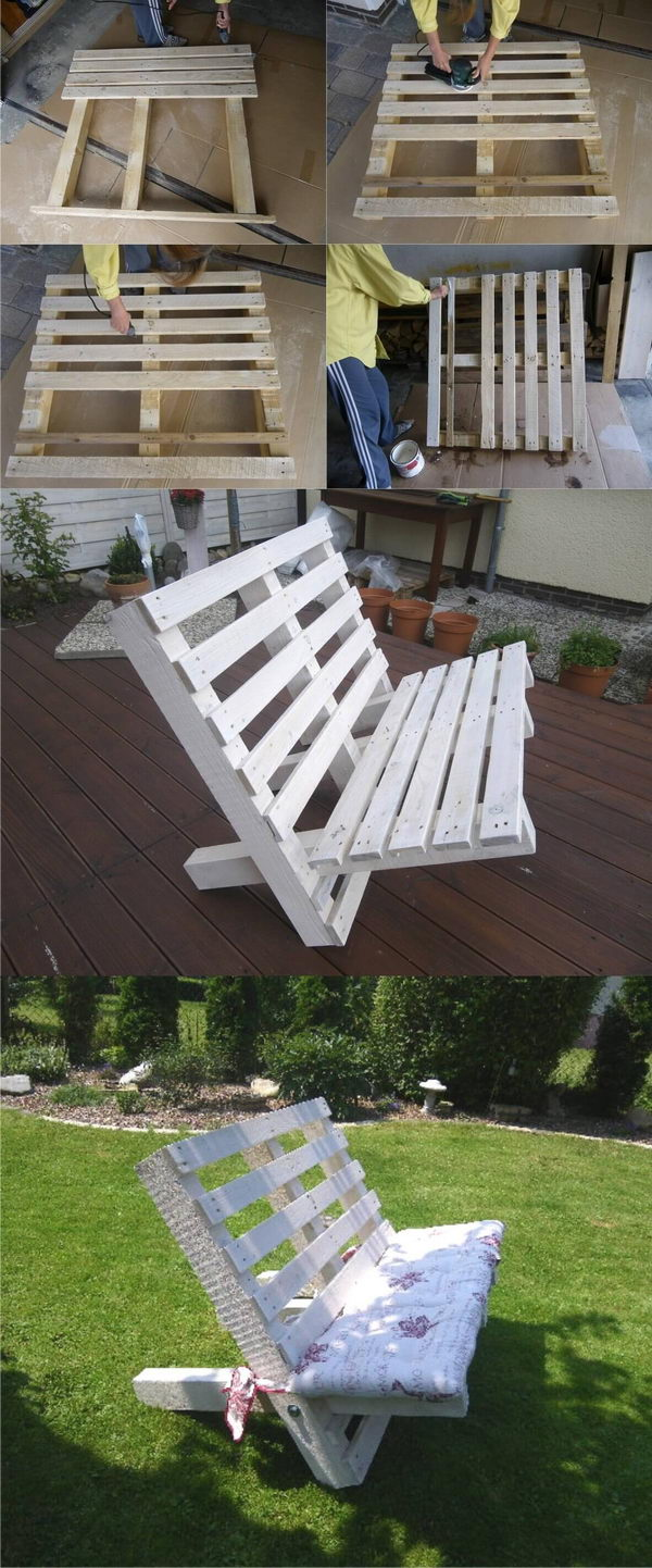 A White Bench Created From Two Pallets.