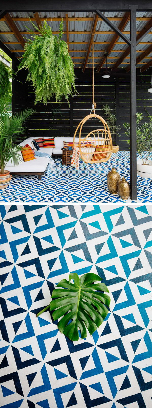 Painted Patio Floor Tiles.