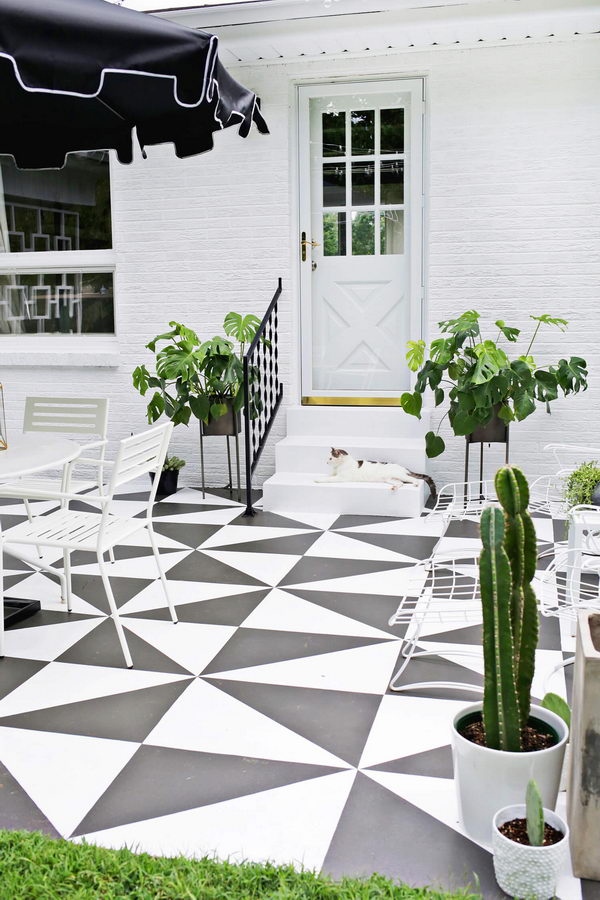 DIY Painted Patio Tile.