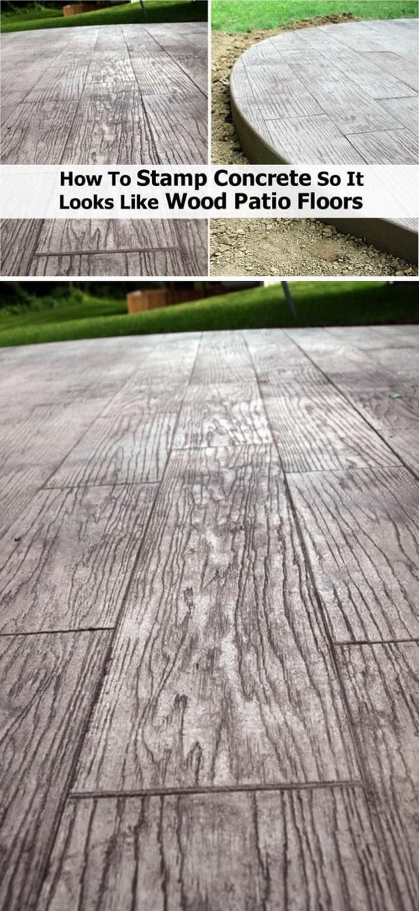 DIY Wood Looking Stamped Concrete Patio.