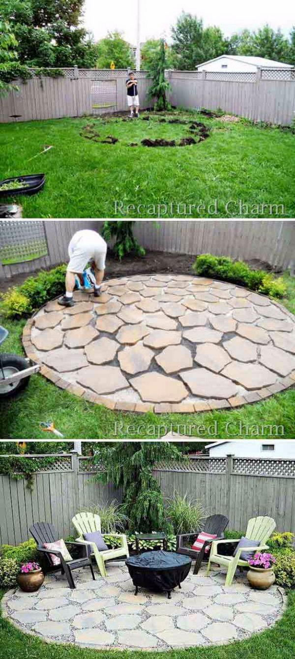 Circular Stone Firepit Patio.