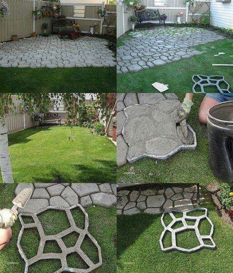 DIY Stone Looking Concrete Patio.